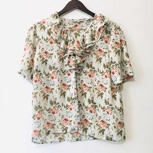 • vintage ruffle floral blouse •